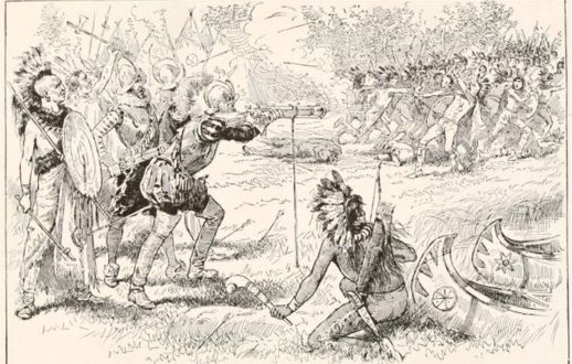 """The Iroqouis fought in many battles throughout there time and after awhile of fighting the """"new people"""" the """"new people"""" won and took over the land that we now call America."""